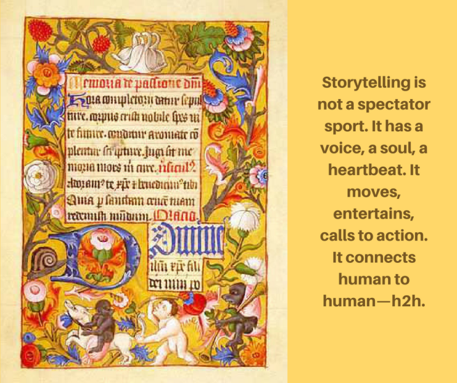 Art of storytelling via catherine hamrick with image of medieval illuminated manuscript