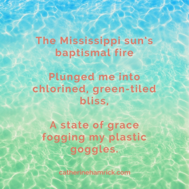 Immersion-poem-by-catherine-hamrick-with-image of water rippling in a swimming pool