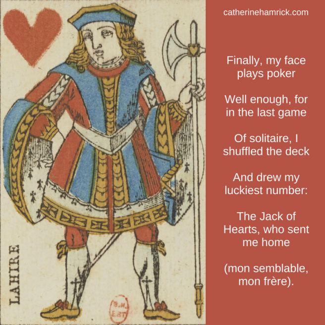 Twin Flames in a Divine Wind poem excerpt by Catherine Hamrick with image of French Jack of Hearts
